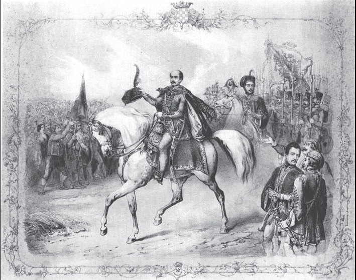 Scene from Jelačić's ceremonial installation on the position of Croatian ban in Zagreb, June 4, 1848 (Contemporary engraving published in Zagreb's weekly Svijet on May 19, 1928)